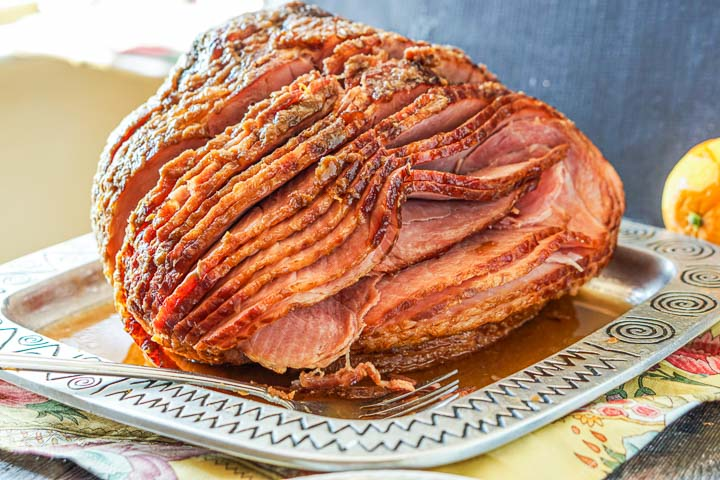 silver platter with low carb brown sugar & spice glazed spiral ham