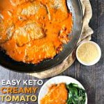 pan and plate with keto creamy tomato pork chops and text