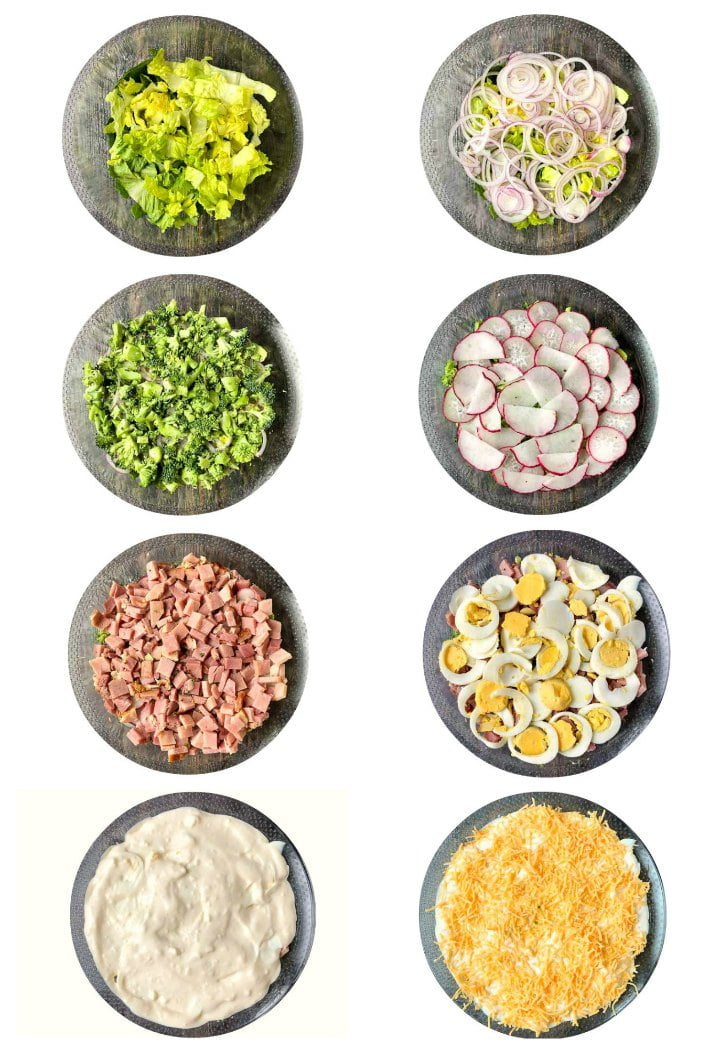 collage with 8 round photos of the layers for this low carb layered ham salad