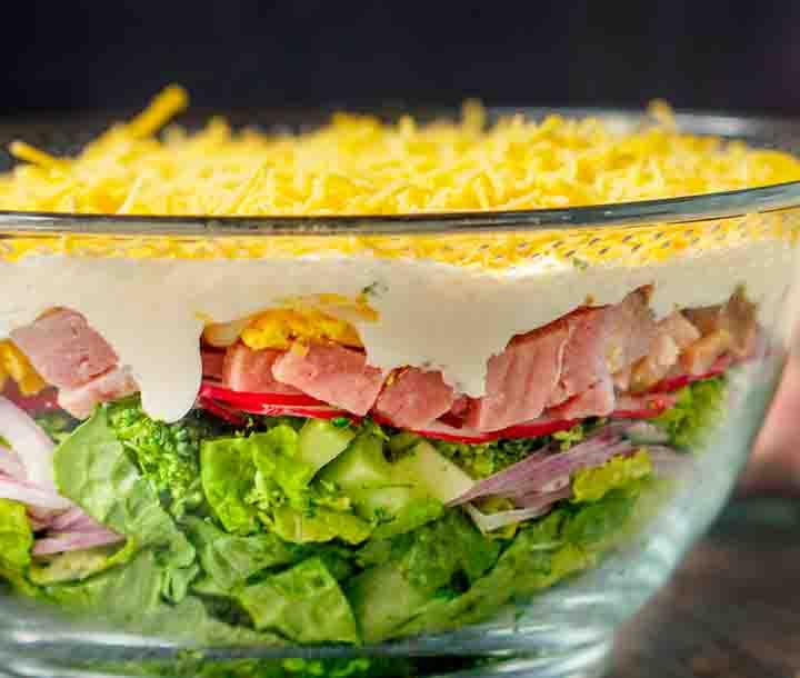 close up of 8 layer low carb ham salad