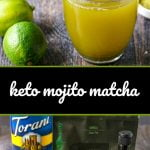 glass mug of mojito keto matcha drink with limes and text