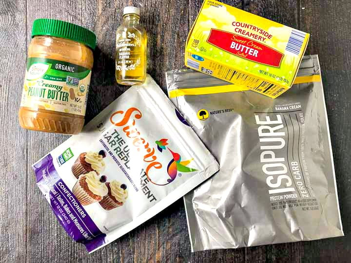 banana peanut butter protein fudge ingredients: no sugar added peanut butter, butter, Swerve sweetener, Isopure banana protein powder, banana extract