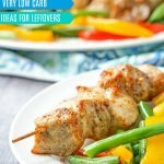 platter of low carb pork kebabs made in air fryer with text