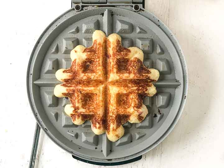 low carb waffle in a waffle iron