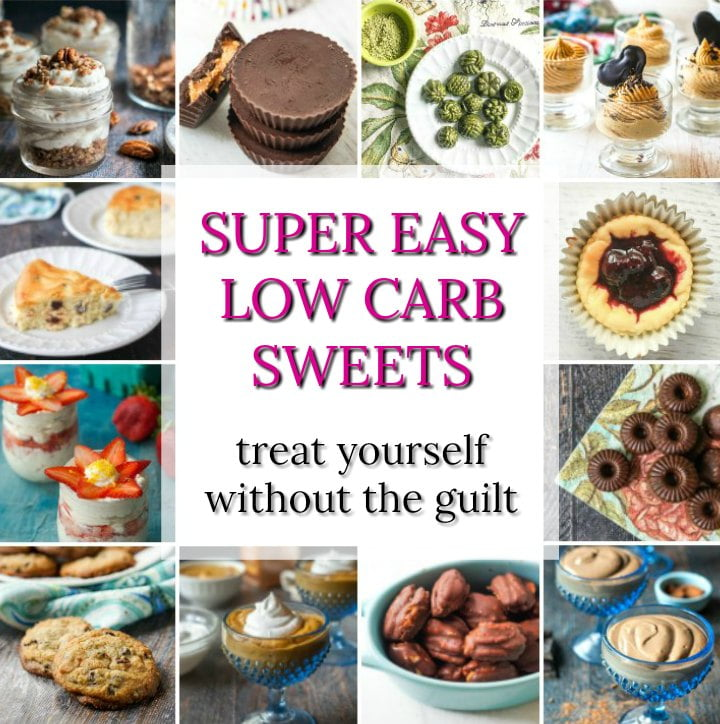 a collage of low carb sweet snack recipes and text overlay