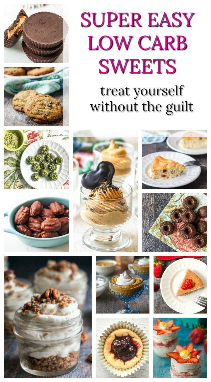 a large collage of low carb sweet snack recipes and text overlay
