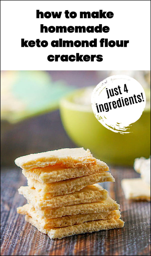 a stack of almond thin crackers with text overlay