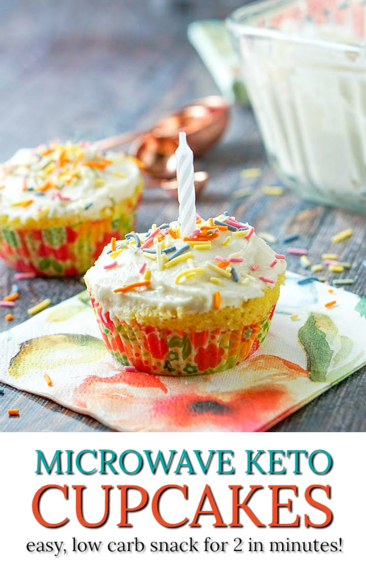 microwave keto cupcakes with a candle and text