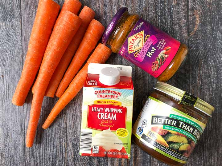 4 ingredients to make low carb carrot soup: carrots, cream, Better than Bouillon, curry paste