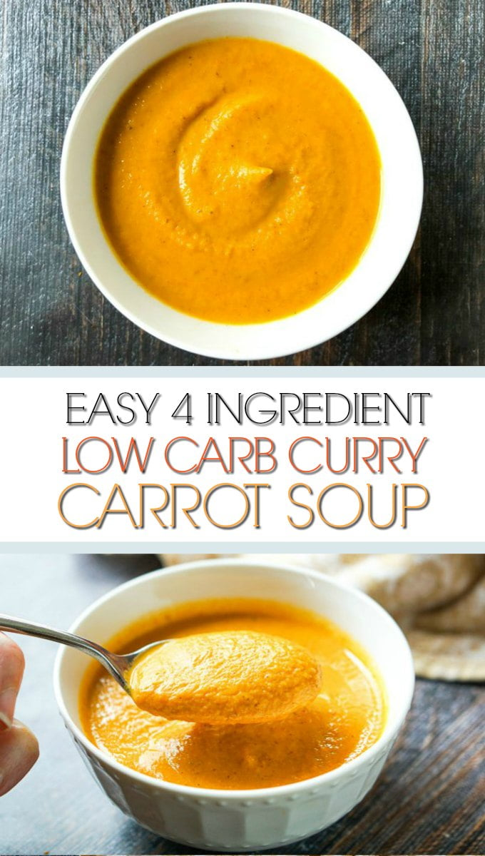 white bowl with low carb creamy curry carrot soup and text