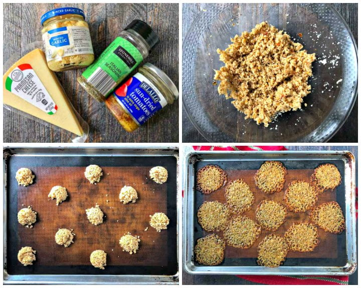 collage showing how to make Italian flavored low carb cheese crisps