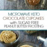 glass cup with microwave chocolate keto cupcake with sugar free peanut butter icing and text