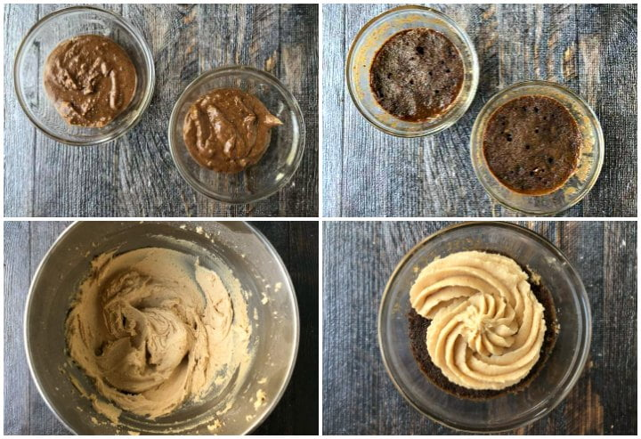 collage of how to make microwave chocolate keto cups cakes and peanut butter frosting