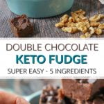 double chocolate keto fudge in blue bowel and scattered walnuts with text