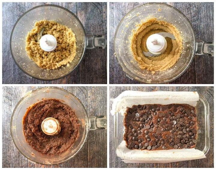 collage of making keto fudge using the food processor