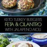 white plate with feta & cilantro keto turkey burger and text