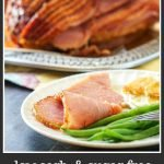 spiral sugar free glazed ham on a silver platter with text