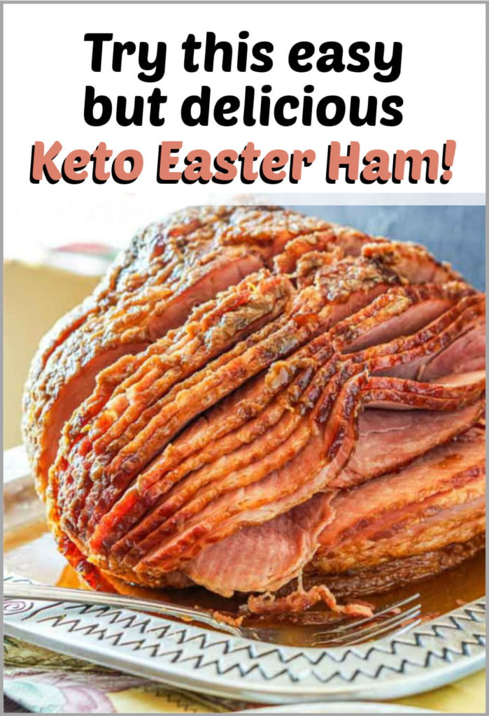 closeup of spiral baked keto ham with text
