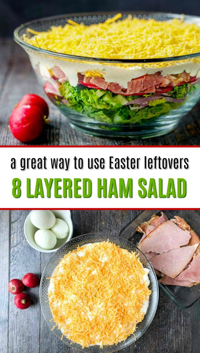 glass bowl with low carb layered ham salad using Easter leftovers with text