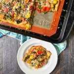 low carb roasted vegetable flatbread pizza with text