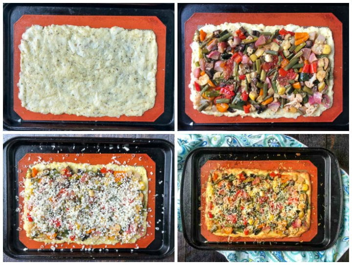 collage of pics to show how to make a low carb roasted vegetables flatbread pizza