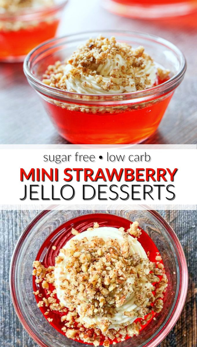 mini low carb strawberry jello desserts with text