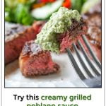 a piece of steak and grilled poblano sauce and text