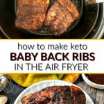 air fryer basket with keto bbq baby back ribs with text