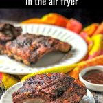 white plate with air fryer keto bbq baby back ribs with text