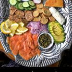 low carb brunch platters with Arnold palmer cocktail and text