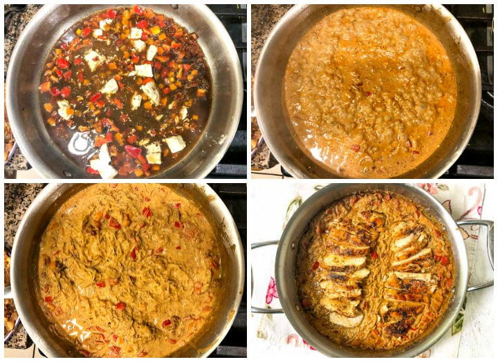 collage of picture showing how to make the cajun chicken spaghetti squash dish