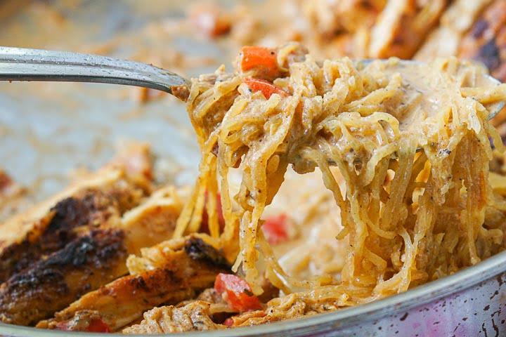 a forkful of the gluten free cajun spaghetti squash noodles