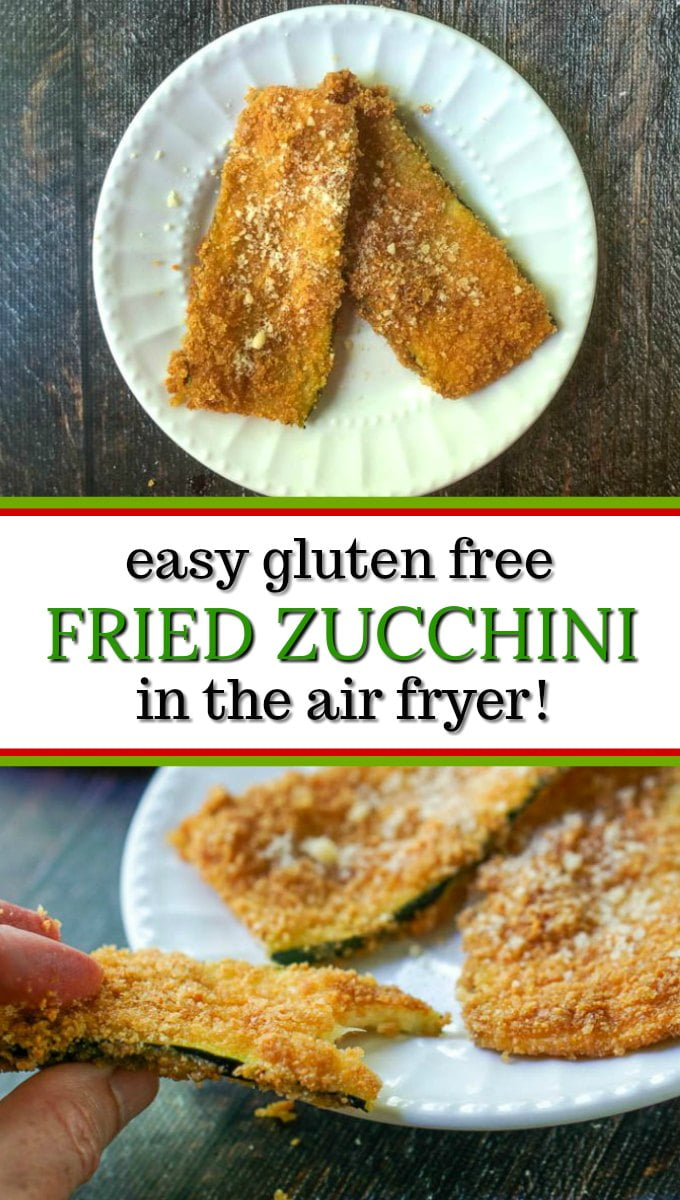 white plate with keto fried zucchini in the air fryer with text
