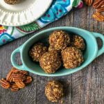blue bowl with keto chocolate pecan pie balls with text