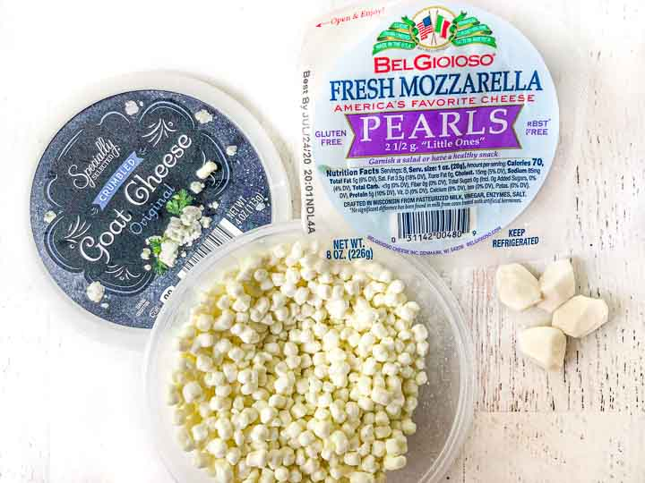 package of goat cheese crumbles and fresh mozzarella pearls from Aldi