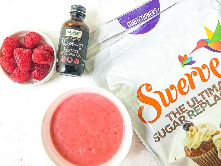 ingredients for sugar free raspberry dressing: Fresh raspberries, raspberry extract, Swerve sweetener