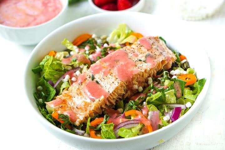 white bowl of salmon salad