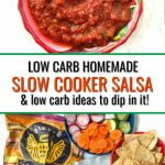 bowl of low carb salsa with chip ideas and text