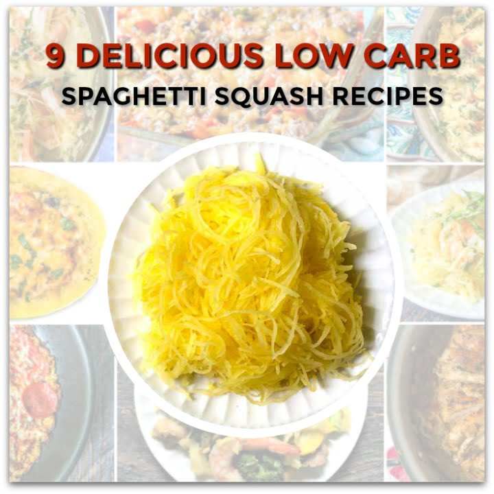 collage of spaghetti squash recipes with a big plate of plain spaghetti squash in the middle and text