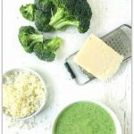 white bowl with broccoli cheese blender soup and text overlay