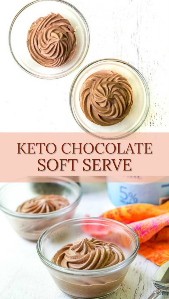 glass bowls with low carb chocolate soft serve ice cream and text