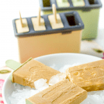 coffee popsicles in a white bowl with ice and text overlay