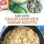 pan of shrimp cauliflower risotto with stuffed mushrooms and text overlay