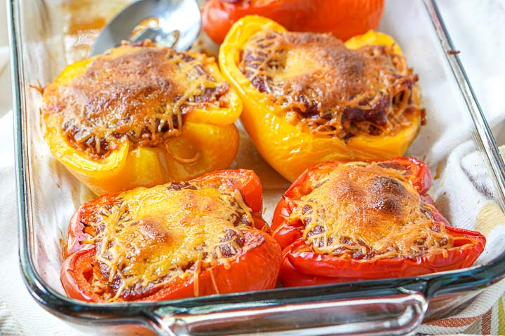 closeup of cooked keto bbq chicken stuffed peppers