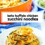 white plate and skillet with keto buffalo chicken zucchini noodles and text overlay