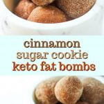 white marble bowl with keto cinnamon sugar cookie dough balls with text overlay