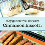 cookie sheet and plate with gluten free cinnamon biscotti and text overlay