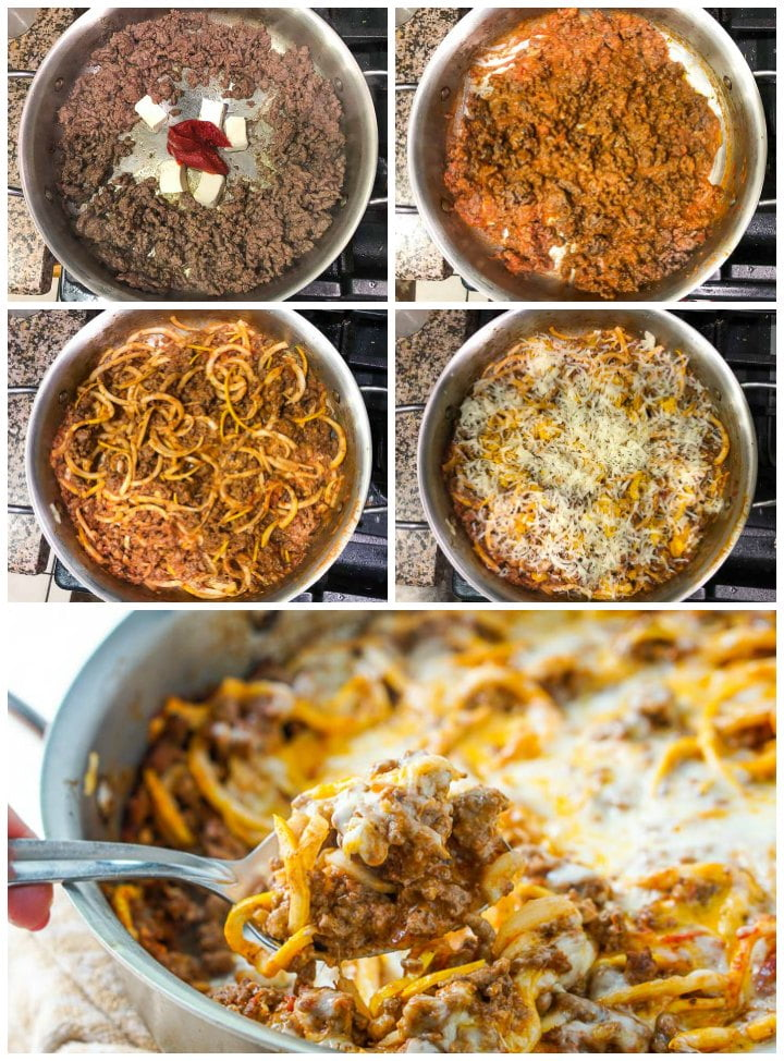 collage of the steps to make this zucchini ground beef casserole from browning the beef to making the sauce and add the noodles and cheese