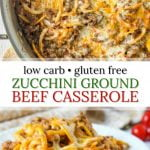 white plate and pan of keto zucchini ground beef casserole with text