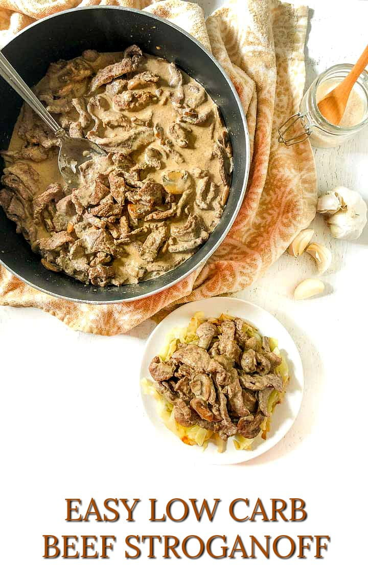 pan and plate with beef stroganoff with text